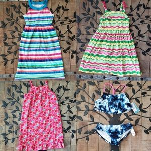 Girl's size Medium 7/8 dress and swim Lot EUC